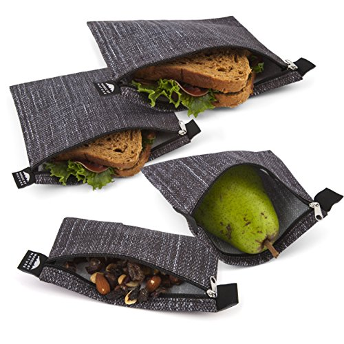 Nordic By Nature 4 Pack - Reusable Sandwich Bags Dishwasher Safe BPA Free - Durable Washable Quick Dry Cloth Baggies -Reusable Snack Bags For Kids School Lunches - Easy Open Zipper- Black Denim