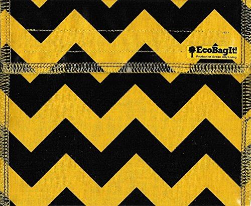 EcoBagIt Reusable Sandwich Bag Chevron BlackGold