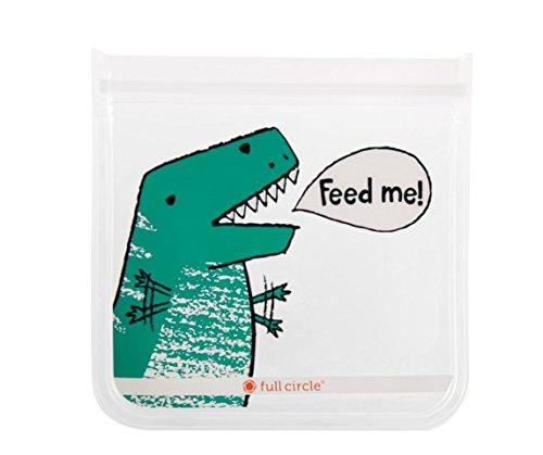 Full Circle ZipTuck Kids Reusable Sandwich Bags 2 Pack Dinosaur