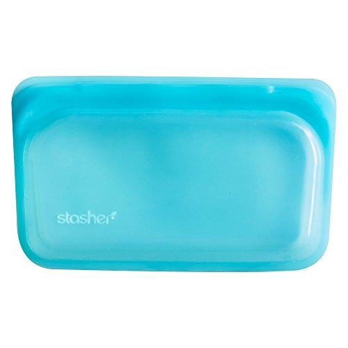 Stasher Reusable Silicone Food Bag Snack Bag Aqua