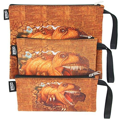 QOGiR Reusable Sandwich Snack Bags with Handle Set of 3 Lead-freeBPA-freePVC-freeFDA PASSEDBrown Dinosaur