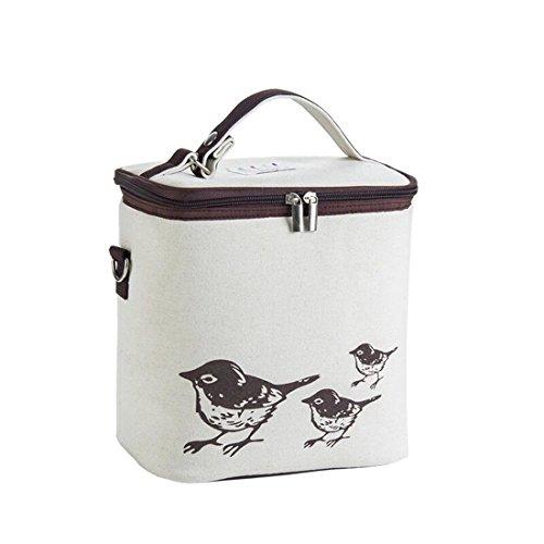 SuperB2C Lunch Bag Insulated Tote Large Capacity with Shoulder Strap Lunch Bag Meal Prep Bag Cooler Bag Brown