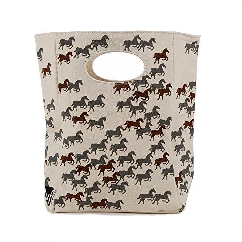 FLUF Organic Cotton Lunch Bag Wild Horses Regular Brown