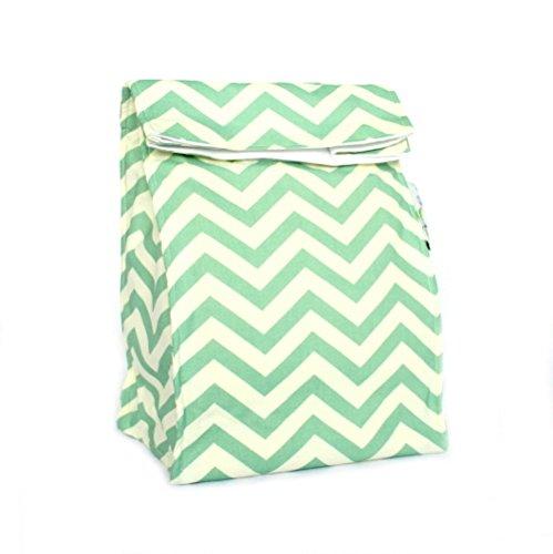 Island Picnic Organic Cotton Lunch Bag - Reusable Insulated - Sea Green Chevron
