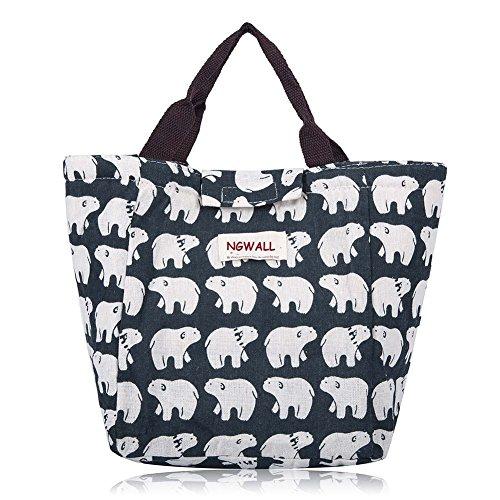 NGWALL-Cute Reusable Cotton Warmer Lunch Bag Insulated Lunch Handbag Waterproof Lunch Box Soft Bento Cooling Bag Polar bear
