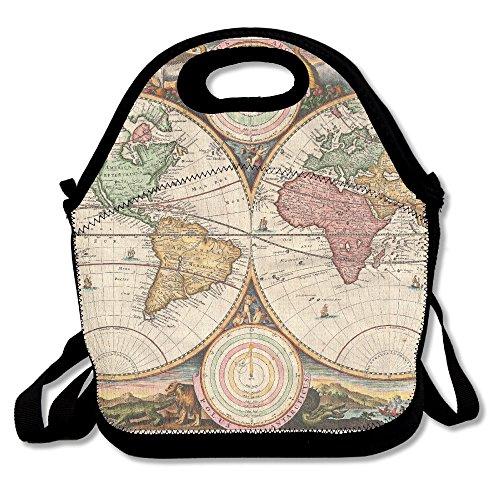 Vintage Old World Map Lunch Box Bag For Kids And Adultlunch Tote Lunch Holder With Adjustable Strap For Men Women Boys GirlsThis Design For Portable Oblique Crossdouble Shoulder