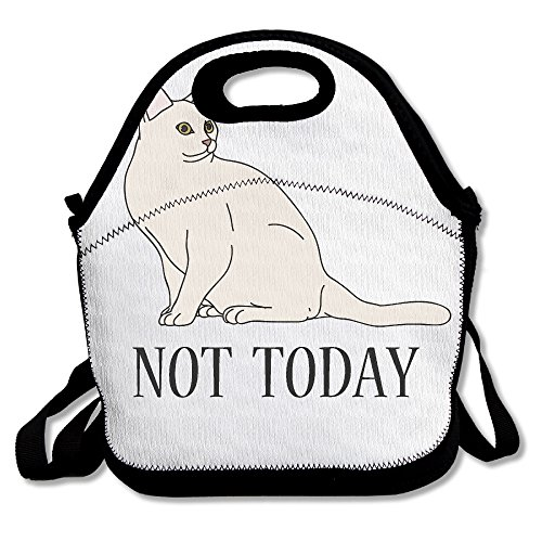 ETL Not Today White Cat 100 Polyester Fiber Cute Personalized Insulated Reusable Food Bag For Men Women Adults Kids Toddler