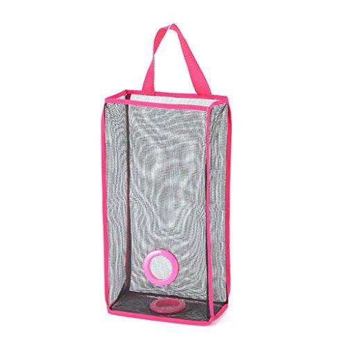MagiDeal Hanging Folding Mesh Garbage Bag Storage bag Trash Bags holder - Rose Red 4215511cmsmall