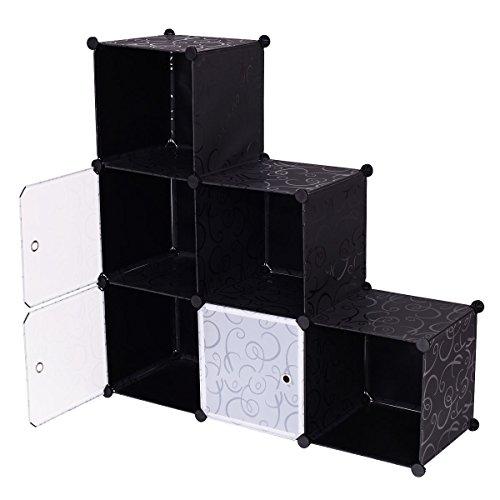 Tangkula DIY Cube Storage Organizer 6 Cube Bookcase Bookshelf Closet