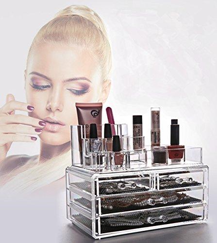 Acrylic Cosmetic OrganizerPasutewe Jewelry Makeup Storage Display Boxes - 3 Layers