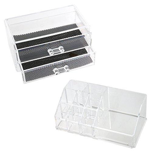 Cosmetics Organizer - PIXNOR Make Up Organizer 2-Layer Drawer Style Acrylic Jewelry Storage Box Case