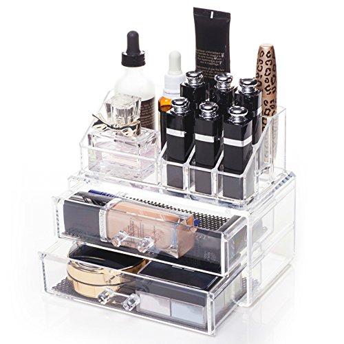 Xuzog Acrylic Makeup Organizer Acrylic Jewelry Storage Cosmetic Organizer 2 Pieces Set