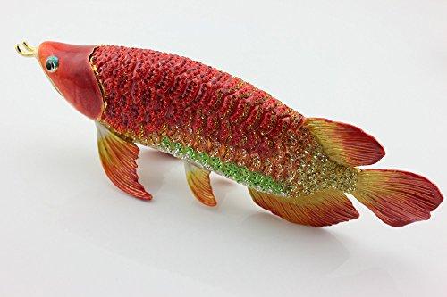 97'' Full Diamond Forturn Trinket Box Ocean Series Arowana Metal Jewelry Box Bejeweled Arowana Fish Statue