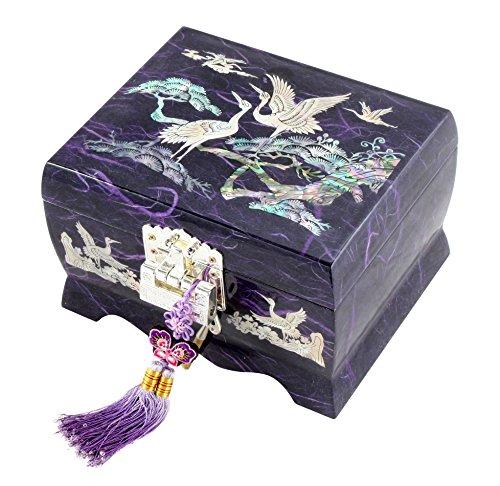 Nacre Inlay Mother of Pearl Music Jewellery Storage Chest Wooden Box Crane with Pine Tree Design Jewelry Mirror Box Keepsake Treasure Gift Box Trinket Case Organizer Purple