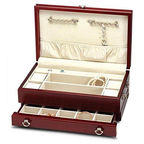 Womens Wooden Cherry Finish Jewelry Box Chest