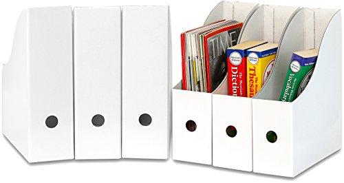 Simple Houseware White Magazine File Holder Organizer Box Pack of 6