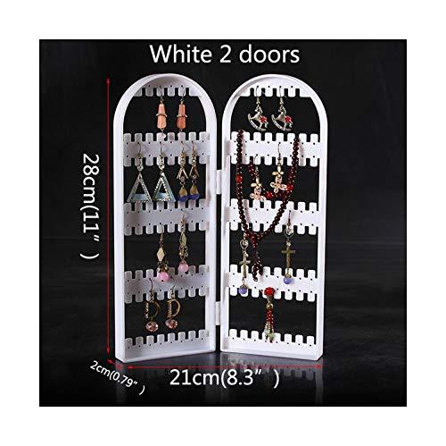 Jewelry Organizer Plastics Earring Storage Doors Design Nice Jewelry Hanging Holder Rack Acrylics Jewelry Display Stand EarringsWhite 2 Doors