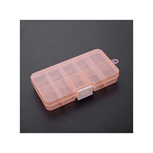 Legoushop Plastic Storage Box 10 Lattice Transparent Plastic Jewelry Organizer Box Rhitone Bead Sundries Home Desktop Storage BoxOrange