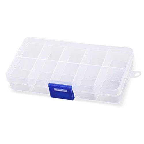OUNONA 10-Grid Plastic Jewelry Organizer Box Storage Container Case Transparent