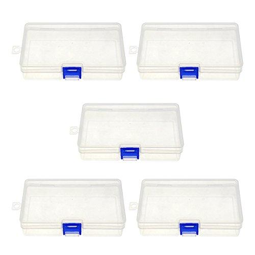 Saim Clear Single Compartment Plastic Jewelry Organizer Divider Storage Box Small Pack of 5