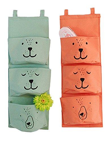 3 Layers Hanging Bag Linen&Cotton Fabric Wall Door Closet Hanging Storage Bag Organizer Cartoon Puppy Hanging Bag Green
