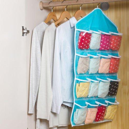 Fangfang 16 Pockets Waterproof Clear Over Door Hanging Bag Shoe Rack Hanger Storage Organizer Wall Closet Hanger Blue