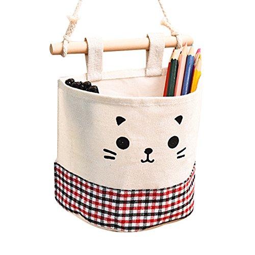 Topbeu Cute Cat Cotton Linen Door Wall Closet Hanging Storage Bag Sundries Organizer Red