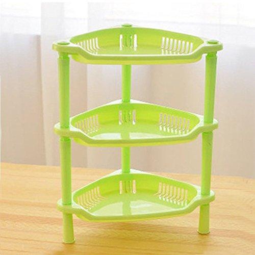 Pinovk 3 Tier Plastic Corner Shelf Organizer Bathroom Kitchen Storage Rack Holder Green