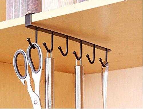 Transer Kitchen Storage Rack Cupboard Hanging Hook Hanger Chest Storage Organizer Holder Black
