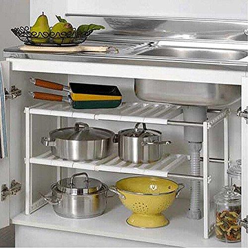 2 Tier Expandable Under Sink Shelf Storage Shelves Kitchen Organizer White