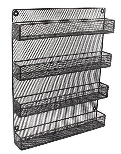 ESYLIFE 4 Tier Wall Mounted Spice Rack Organizer Large Kitchen Storage Shelf Black