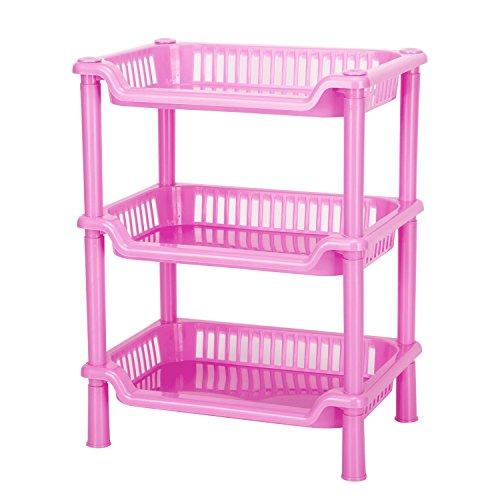 Storage ShelvesCrystalbabey Plastic Storage Shelves3 Layers Floor Stand Rack Shelf Shower Organizer Kitchen Storage Bathroom Shelves for Household Kitchen Pink