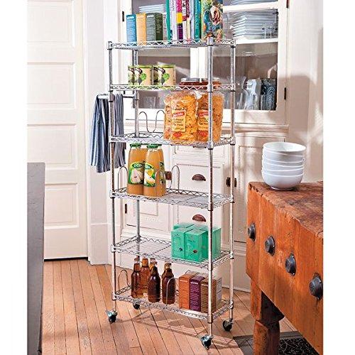 6 Shelf Mobile Rolling Kitchen Pantry Storage Cart Utility Organization Adjustable Chrome