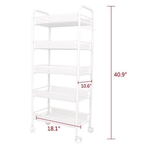 GZYF 41 inch Shelving Rack 5 Tier Shelf Shelves Rolling Kitchen Pantry Storage Utility Cart