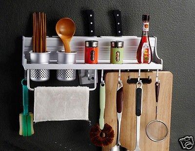 Wall Mounted Kitchen Pantry Storage Rack Organizer Knife Slot Holder Spice Shelf