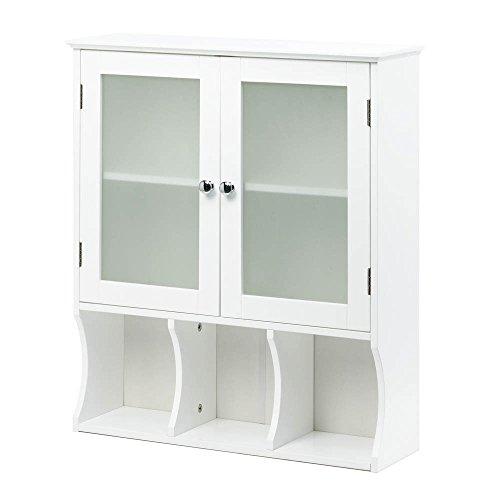Kitchen Pantry Storage Cabinet Display Glass Door Cabinet Organizer Woodwhite