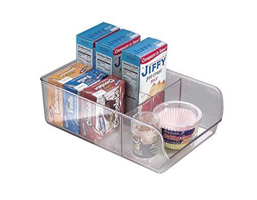 mDesign Refrigerator Freezer Pantry Storage Organizer Bins for Kitchen - Divided Clear
