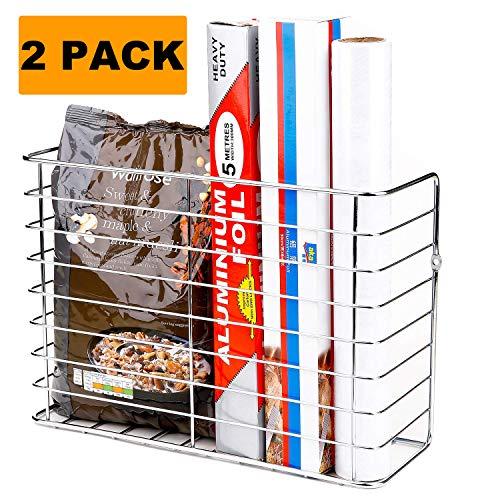 2 Pack Wall Door Mount Kitchen Wrap Organizer RackCabinet DoorPantry doorWall Mount Kitchen Storage Organizer Basket