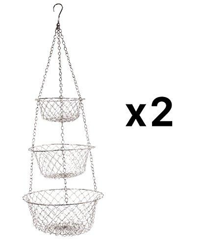 Fox Run 3 Tier Hanging Fruit Vegetable Kitchen Storage Basket - Green White or Red 2 Pack