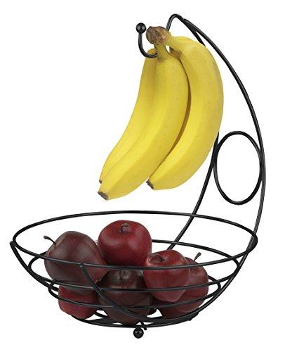 Home Basics Fruit Bowl Basket with Banana Tree Holder Hanger - StrongSturdy Fruit Vegetables Holder Kitchen Storage Basket Stand Black
