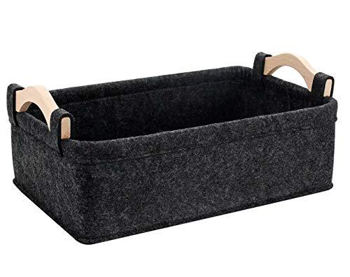 KWLET Small Basket Gray Storage Baskets for Shelves Fabric Storage Bins for Living Room Kitchen Playroom Bathroom Toilet Dorm Narrow Storage Basket Organizer Decorative Basket
