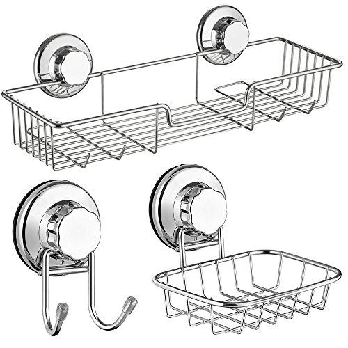 SANNO Bath Shower Caddy Soap Dish Double Bath Hook-Bath Organizer Kitchen Storage Basket for Shampoo Conditioner Soap- Anti Rust Stainless Steel Set of 3