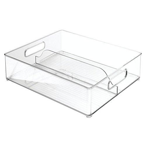 InterDesign Refrigerator and Freezer Divided Storage Organizer Bins for Kitchen 12 x 4 x 145 Clear
