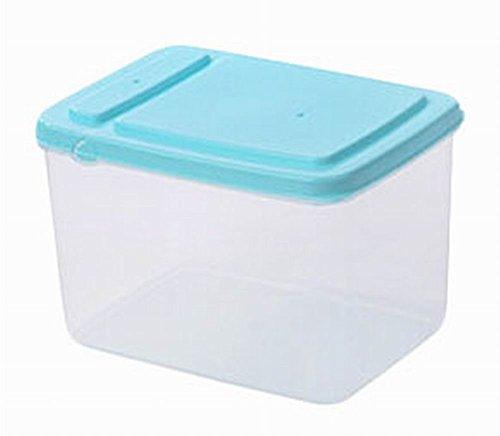 Set of 3 Practical Kitchen Storage Bins CerealsSnacks Storage Canisters Blue