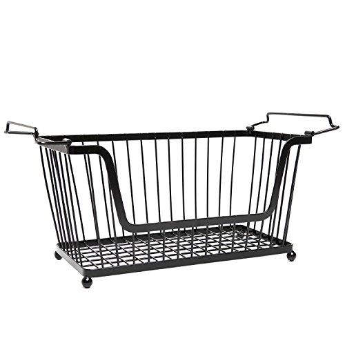 Stackable Black Metal Pantry Organizer Basket - Space Saving Home and Kitchen Storage Bin Solution