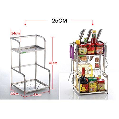 SUNLIGHTAM Stainless Steel 2 Tier Kitchen Cupboard Storage Rack Shelf Spice Herb Jar Bottle Organizer Holder Stainless Steel L-25CM