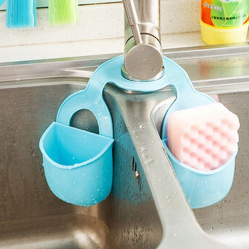 MiniInTheBox Kitchen Double Saddle Storage Sink Basket Sponge Holder Brush Organizer Kitchen Storage Boxes Random Color