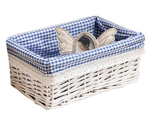 Cosmetic Storage Basket Wicker Basket Food Storage Basket Blue White
