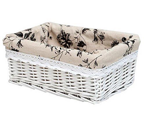 Wicker Basket Food Storage Basket Cosmetic Storage Basket WHITE Ink Painting