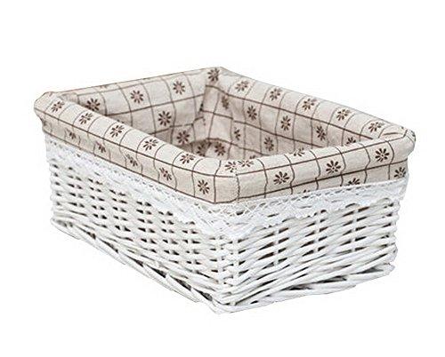 Wicker Basket Food Storage Basket Cosmetic Storage Basket WHITE Snowflakes
